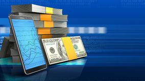 3d of money stack Stock Image