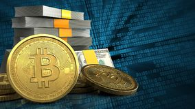 3d of money stack. 3d illustration of money stack over binary background with bitcoins Royalty Free Stock Photos