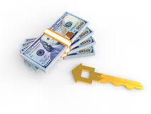 3D money stacks and golden house key. 3D render of stacks of money and golden house key Royalty Free Stock Images