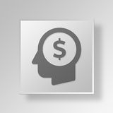 3D Money thoughts icon Business Concept Stock Photo