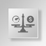 3D Money and time balance icon Business Concept. 3D Symbol Gray Square Money and time balance icon Business Concept Stock Photography