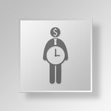 3D Money Time icon Business Concept. 3D Symbol Gray Square Money Time icon Business Concept Royalty Free Stock Photos