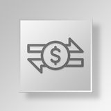 3D Money Transfer icon Business Concept Stock Image