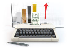 3d money type writer with bar Diagram white background. 3D graphics rendering software concepts about business and finance, typewriters making money on a white Stock Photo