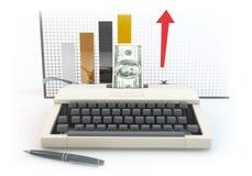 3d money type writer with bar Diagram white background Stock Photo