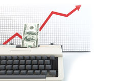 3d money type writer with up diagram white background. 3D graphics rendering software concepts about business and finance, typewriters making money on a white Stock Image