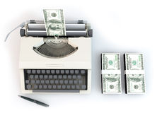 3d money typewriter with 100 dollar stack Overhead perspectives. 3D graphics rendering software concepts about business and finance, typewriters making money on Stock Photo