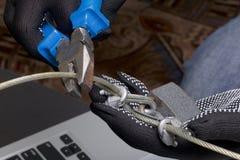 3d monitor komputerowa ilustracyjna ochrona Ochrona dostęp dane Laptop ochrania ochrona kablem i kędziorkiem Napastnik z rękawicz obraz royalty free