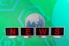 3d monitor news illustration Royalty Free Stock Image