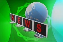 3d monitor news illustration Royalty Free Stock Photos