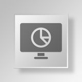 3D monitor pie chart icon Business Concept. 3D Symbol Gray Square monitor pie chart icon Business Concept Royalty Free Stock Photography