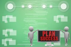3d monitor with plan success illustration Royalty Free Stock Photography