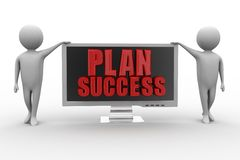 3d monitor with plan success illustration Stock Photos