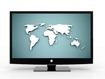 3D monitor with world map Royalty Free Stock Images