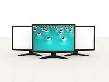 3D monitors one screen on blue Stock Photos