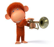 3d monkey blows the trumpet Stock Photos