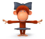 The 3D monkey dances Royalty Free Stock Photo