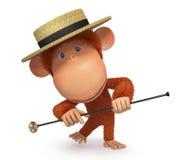 3d monkey dances a step Stock Photography