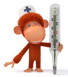 3d monkey doctor Royalty Free Stock Images