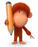 3D monkey with a pencil Royalty Free Stock Photos
