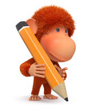 3D monkey with a pencil Royalty Free Stock Images