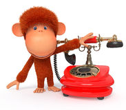 3d monkey with phone Royalty Free Stock Image