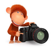 3d monkey photographer Royalty Free Stock Photo