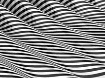 3d Monochrome striped waves Royalty Free Stock Photo
