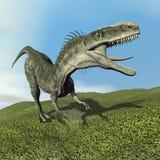 3D Monolophosaurusdinosaurus - geef terug Stock Afbeeldingen