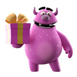 3D monster with gift. 3D monster, cheerful cartoon carrying a gift vector illustration