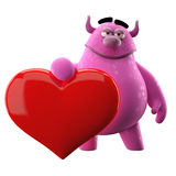 3D monster with heart. 3D monster, cute cartoon with a big Valentine heart Stock Photos