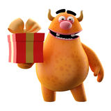 3D monster with present - humorous character. Cute 3D cartoon character with birthday or Christmas gift isolated on white background, modern greeting cards Royalty Free Stock Photos