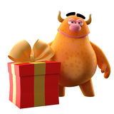 3D monster with present - humorous character. Funny cartoon icon cheerful orange monster on white background Royalty Free Stock Photos