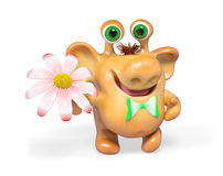 3d monster van het fantasiebeeldverhaal met bloem het geïsoleerde teruggeven Royalty-vrije Stock Foto