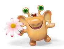 3d monster van het fantasiebeeldverhaal met bloem het geïsoleerde teruggeven Stock Foto's