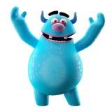 3D monstre drôle, joyeuse bande dessinée d'isolement sur le fond blanc Photo libre de droits
