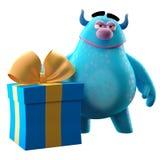 3D monstre drôle, mascotte drôle avec un grand cadeau d'anniversaire Photos libres de droits