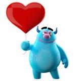 3D monstre drôle, mascotte drôle d'amour avec un coeur Images libres de droits