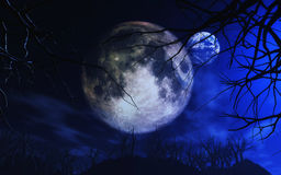 3D Moon and Earth in spooky landscape. 3D render of the Moon and Earth in spooky Halloween landscape Vector Illustration