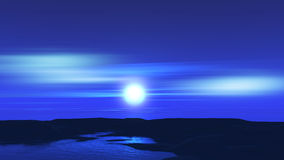 3D moonlit landscape. 3D landscape with moon and ocean Royalty Free Stock Photography