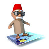 3d Moroccan flying on a credit card Royalty Free Stock Photography