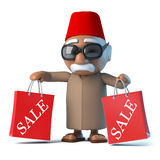 3d Moroccan has been to the sales. 3d render of a Moroccan holding two Sale bags Royalty Free Stock Image