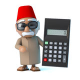 3d Moroccan has a calculator Royalty Free Stock Image