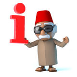 3d Moroccan has information. 3d render of a Moroccan holding an information symbol Royalty Free Stock Photography