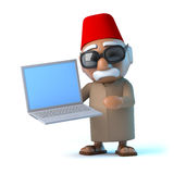 3d Moroccan has a new laptop Royalty Free Stock Photo