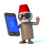 3d Moroccan has a new smartphone. 3d Moroccan holding a smart phone Royalty Free Stock Photo