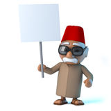 3d Moroccan holding a blank placard Stock Photography