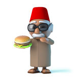 3d Moroccan loves beefburgers. 3d render of a Moroccan eating a beefburger stock illustration
