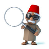 3d Moroccan with a magnifying glass Royalty Free Stock Images