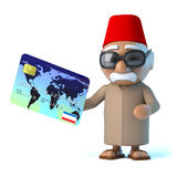 3d Moroccan pays by debit card. 3d render of a Moroccan holding a debit card Stock Photos